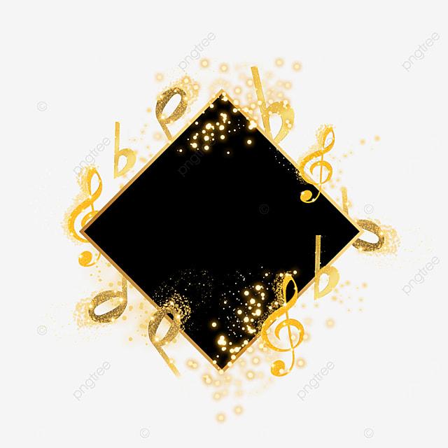 black gold musical notes decorative border