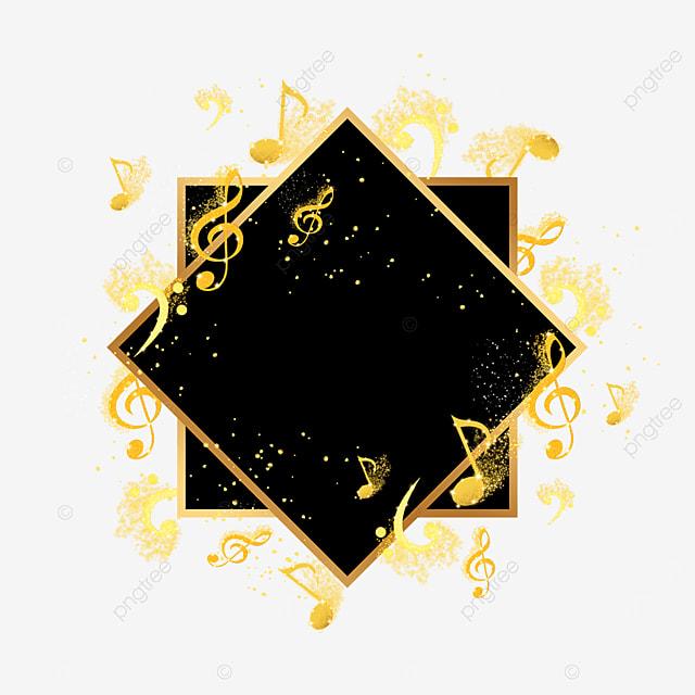 black gold musical notes dress up abstract border