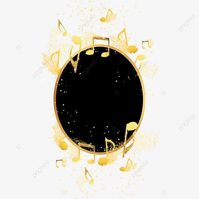 black gold musical notes music decoration abstract border