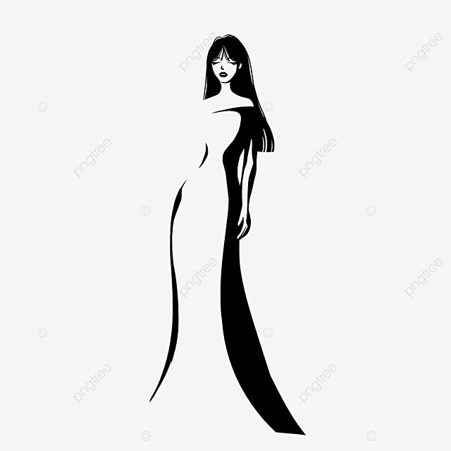 black long hair evening dress girl model clipart
