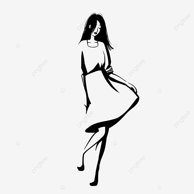 black straight hair dress girl model clipart