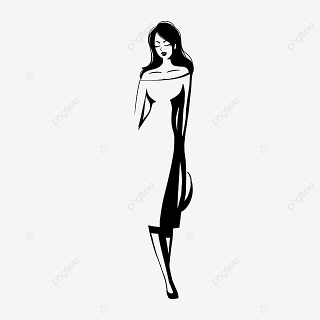 black straight hair dress straw hat girl model clipart