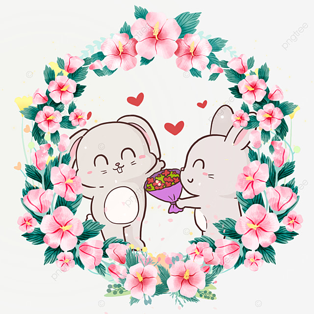 bunny animal couple gardenia flower wreath