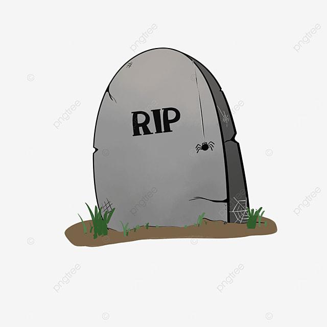 cartoon broken gray tombstone