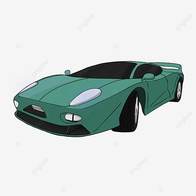 cartoon green sports car clipart