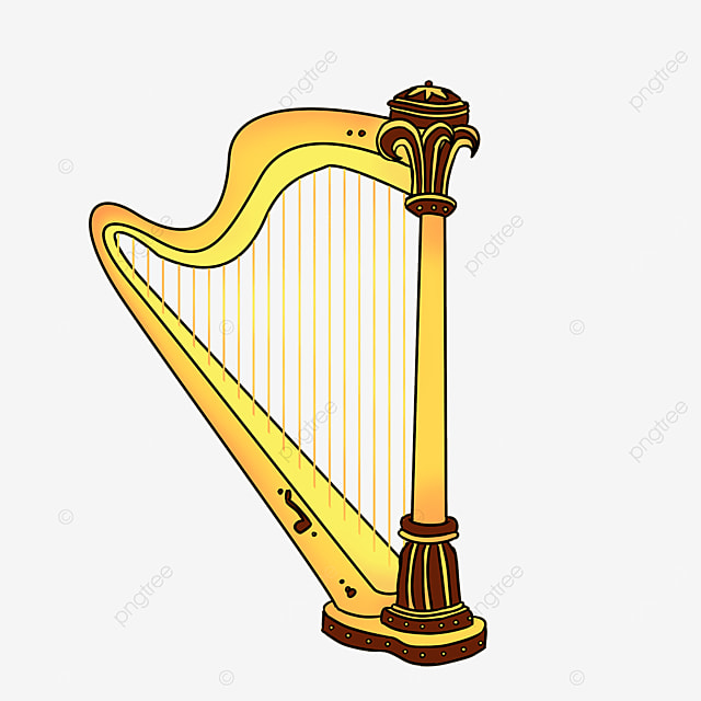 cartoon style brown lace golden yellow upright harp clipart