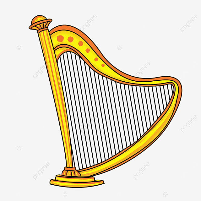 cartoon style clipart leaning golden yellow harp clipart