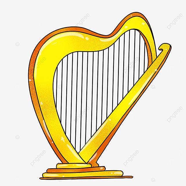 cartoon style golden yellow inclined floor harp clipart