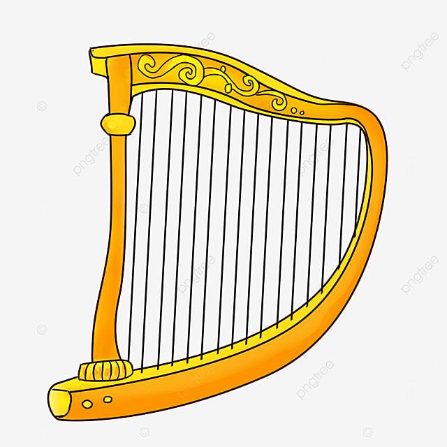 cartoon style golden yellow lace light yellow harp clipart