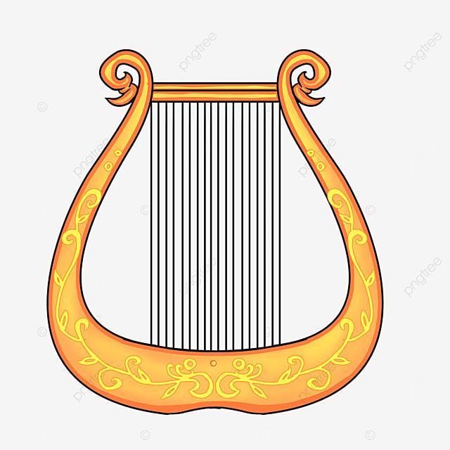 cartoon style golden yellow lace orange handheld harp clipart