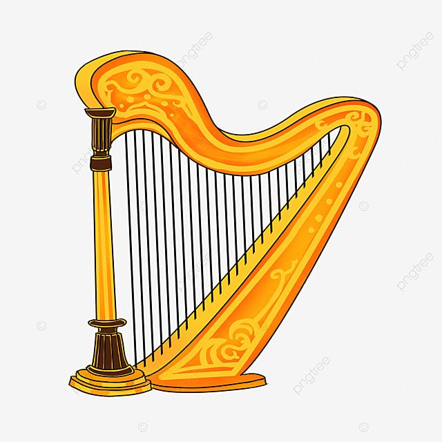 cartoon style golden yellow lace orange yellow floor harp clipart