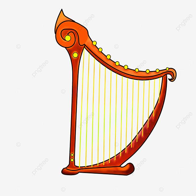 cartoon style golden yellow strings orange red harp clipart