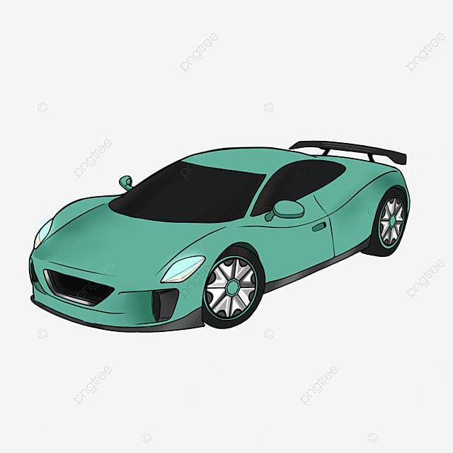 cartoon style green sports car clipart transportation