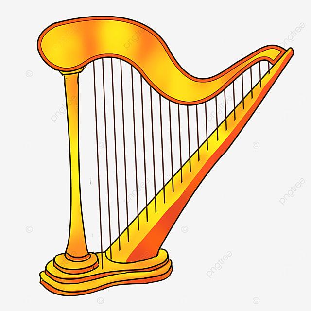 cartoon style metal light orange yellow upright harp clipart
