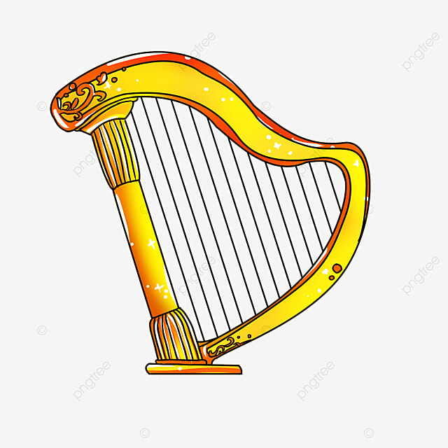 cartoon style orange lace golden yellow leaning harp clipart