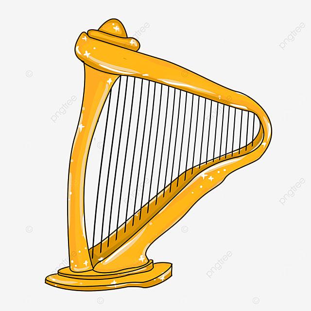 cartoon style orange leaning harp clipart