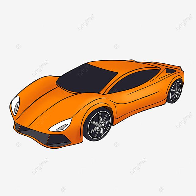 cartoon style orange sports car clipart