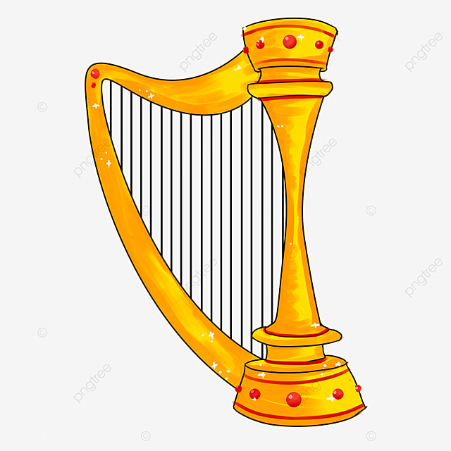 cartoon style red decorative golden yellow upright harp clipart