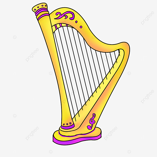 cartoon style romantic purple lace golden yellow inclined harp clipart