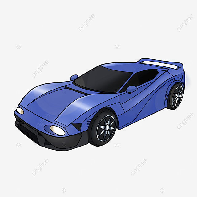 cartoon style sports car clipart blue