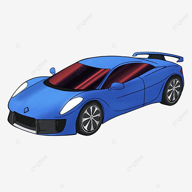 cartoon style sports car clipart blue transportation