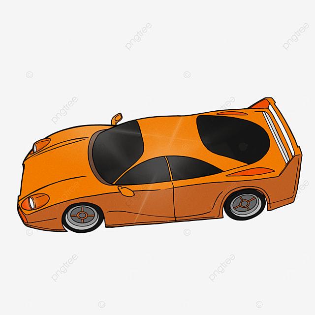 cartoon style sports car clipart orange