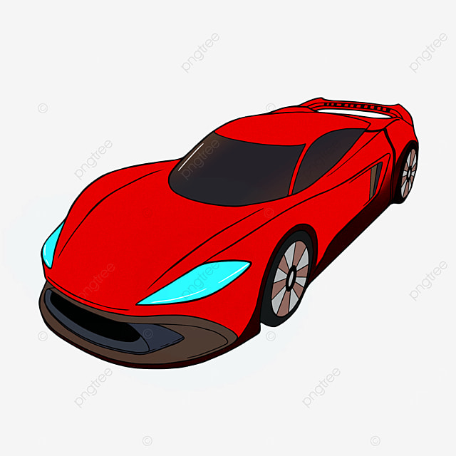 cartoon style sports car clipart red car