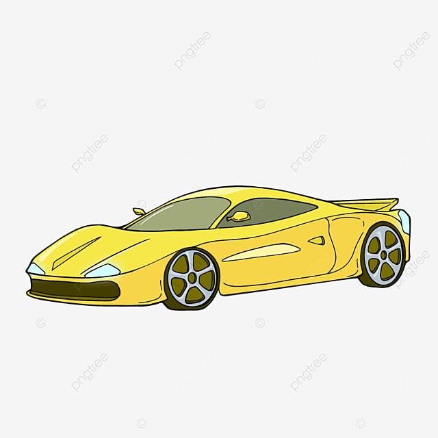 cartoon style sports car clipart yellow car