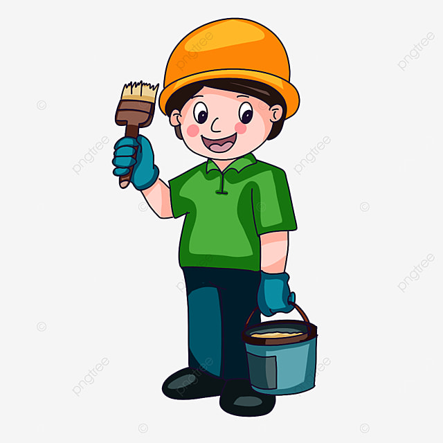 construction worker brushing paint clipart