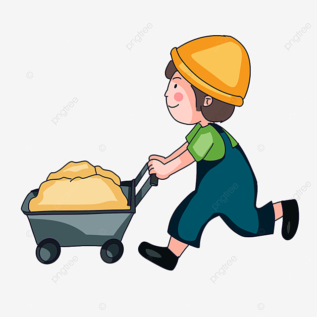 construction worker carrying sand clipart