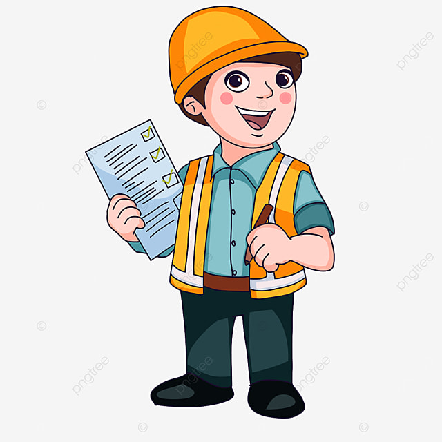 construction worker checking safety clipart