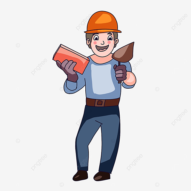 construction worker holding a brick clipart
