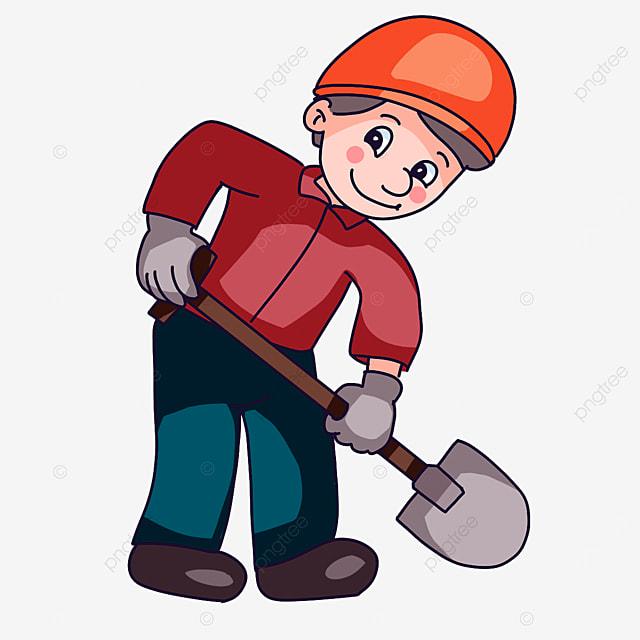 construction worker holding a shovel clipart