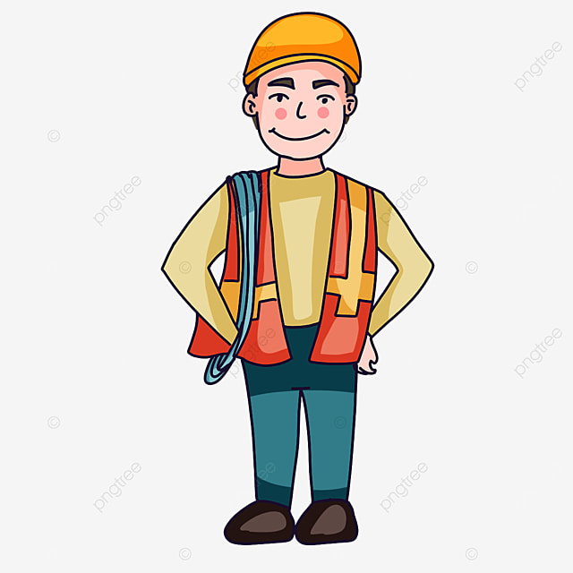 construction worker holding rope clipart