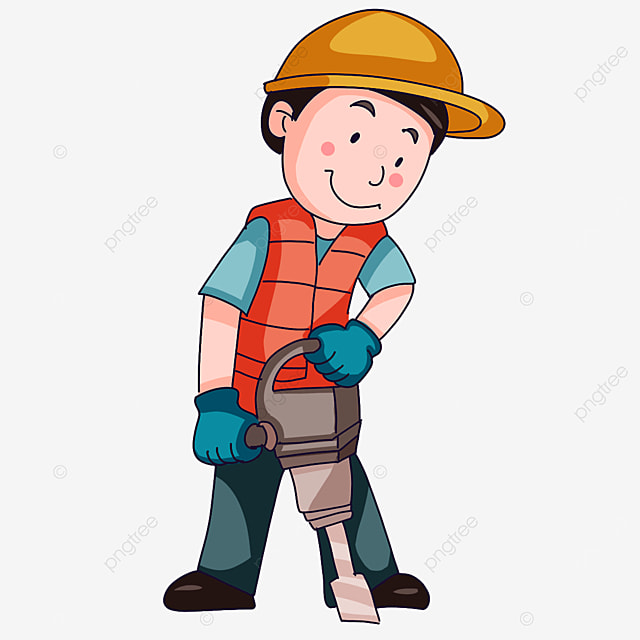 construction worker holding tools clipart