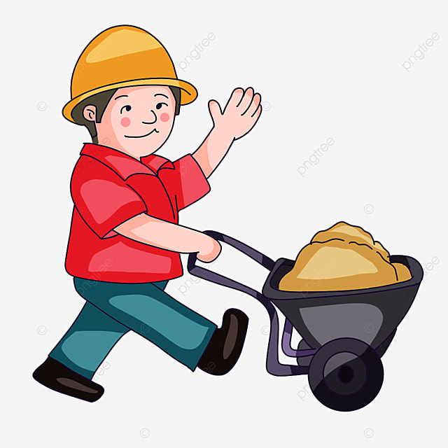 construction worker in red clipart