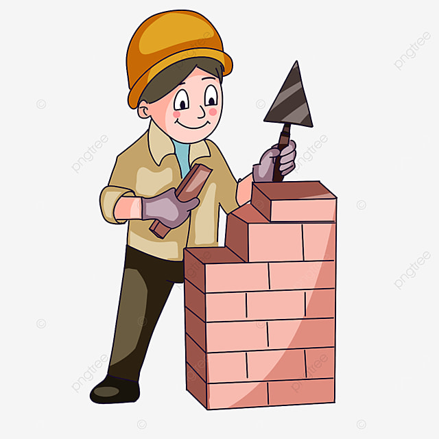construction worker laying bricks clipart