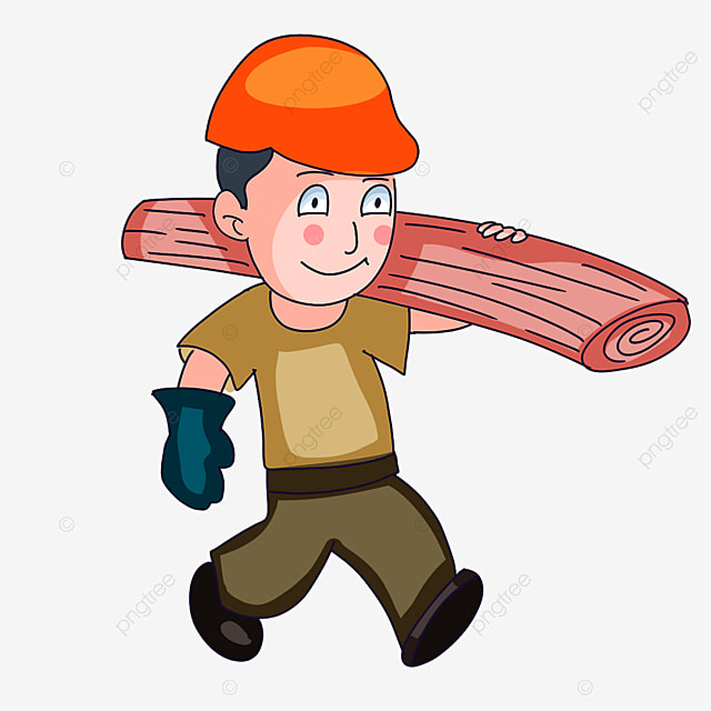 construction worker moving wood clipart