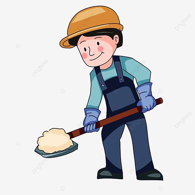 construction worker shoveling sand clipart