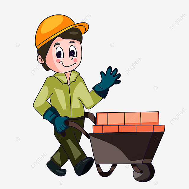 construction worker wearing blue gloves clipart