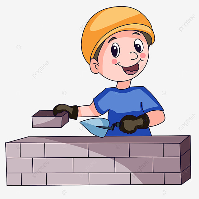 construction worker wearing gray gloves clipart