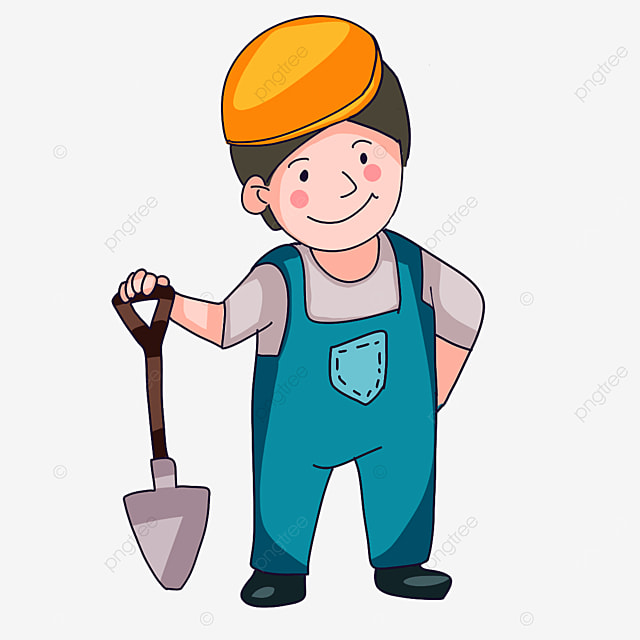 construction worker wearing overalls clipart