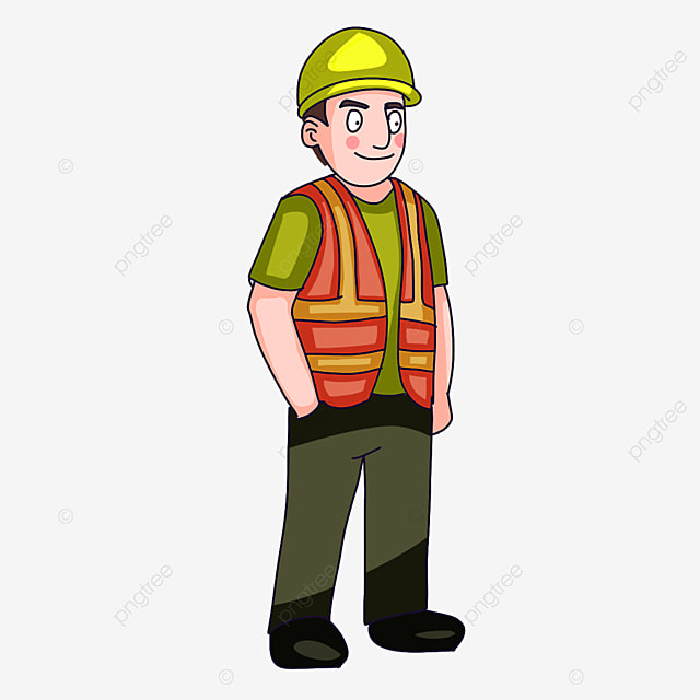 construction worker wearing safety clothes clipart