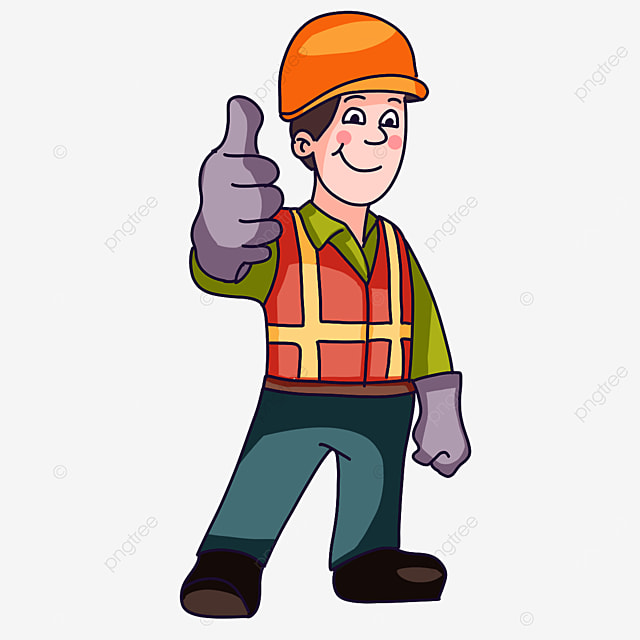 construction worker with thumbs up clipart