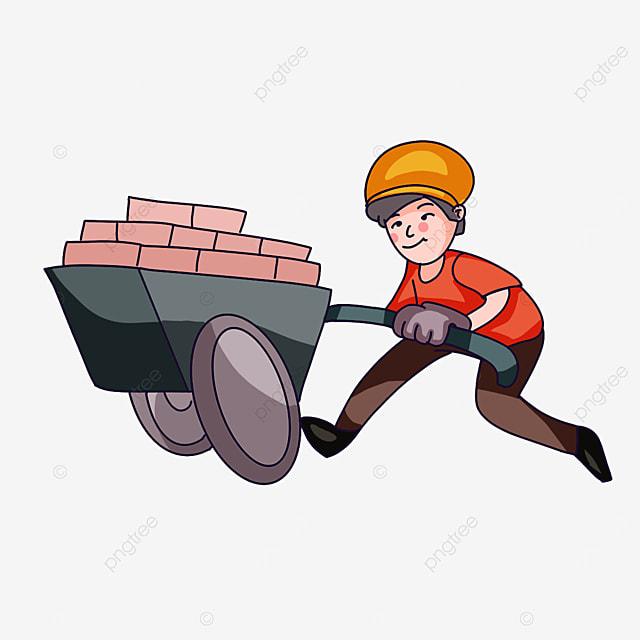 construction worker with wheelbarrow clipart