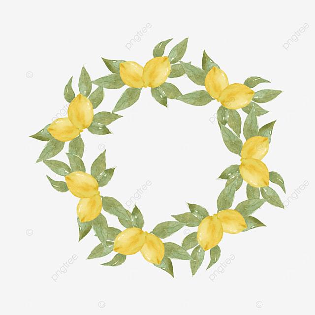 creative lemon border leaf round