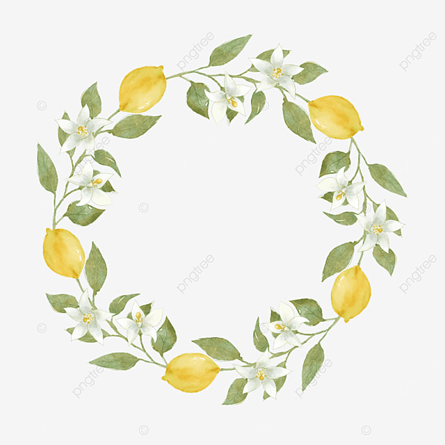 creative lemon border watercolor flowers