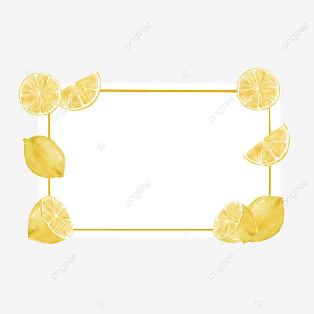 creative lemon border watercolor fruit