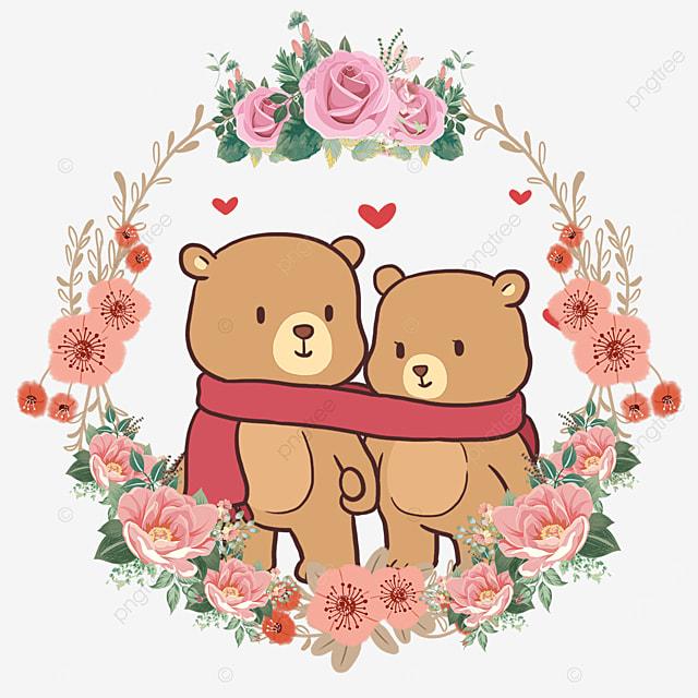 cute animal couple bear pink floral wreath