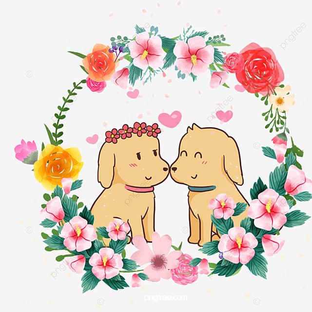cute animal couple dog with gardenia flower wreath